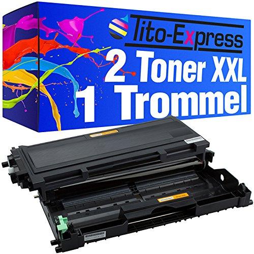 Preisvergleich Produktbild 2x Laser-Toner & Trommel XXL Schwarz kompatibel für Brother TN2000 & DR-2000 HL-2050 HL-2032 HL-2040 PlatinumSerie