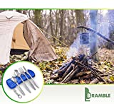 Stainless Steel Cutlery Camping Set - Portable Travel Cutter, Spoons, Fork for Festivals, Hiking or Camping, Comes with a Carry Neoprene Pouch Bag with a Lightweight Bottle Opener (5 pcs) (Blue)