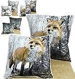 Plüschkissen 40 x 40 cm Fuchs Weihnachten Winter Kissenhülle Kissenbezug (Fuchs)
