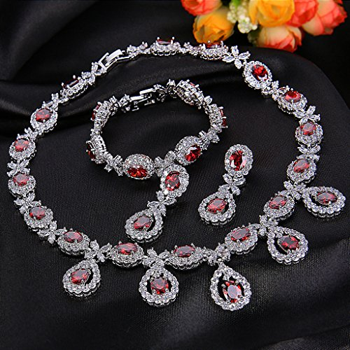 EVER FAITH® Oxyde de Zirconium Noble Elégant Collier Plastron Boucle d'Oreilles Bracelet Parures Couleur de Rubis