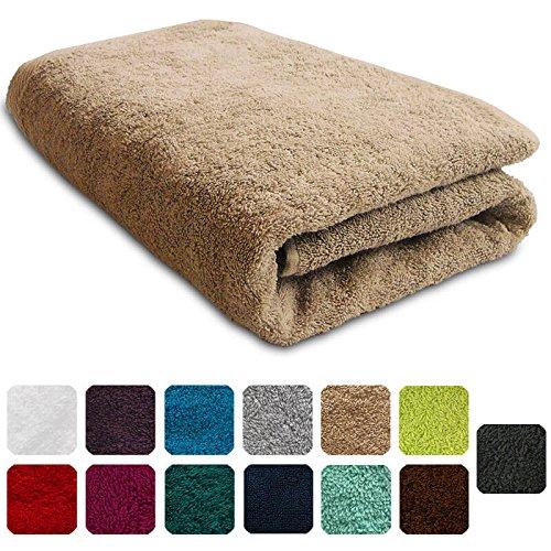 Lanudo® Luxus Duschtuch 600g/m² Pure Line 70x140 mit Bordüre. 100% feinste Frottier Baumwolle in höchster Qualität, Dusch-Handtuch, Badetuch, Badelaken. Farbe: Beige/Sand