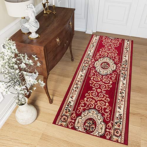 Tapiso atlas tappeto passatoia al metro entrata casa corridoio classico rosso intenso beige tradizionale ornamento a pelo corto 70 x 300 cm