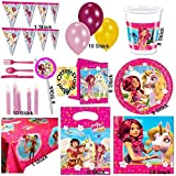 MIA AND ME Mega Partyset 100 Teile Teller Becher Servietten Tischdecke Einladungen Besteck Girlande Trinkhalme Kerzen Luftballons für 6 Gäste