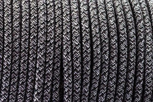 3-core-nero-bianco-antico-intrecciato-rotondo-tessuto-di-seta-lampada-cavo-flessibile-cavo
