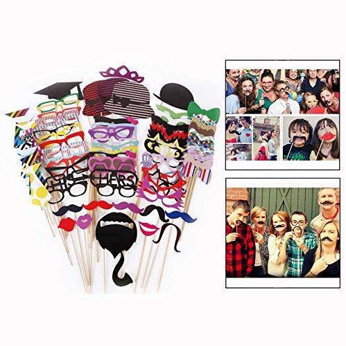 OFKPO 76 Stück Fotorequisiten und Fotoaccessoires,DIY Foto Booth für Hochzeit/Geburtstag/Weihnachten Party[Schnurrbart,Lippen,Brille,Krawatte,Hüten]