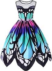 Kleid Damen,Binggong Frauen Schmetterling Druck Sleeveless Party Kleid Vintage Swing Spitzenkleid Lässiger Rundhals-Minirock Mode Mehrfarbig AbendKleid Oversize(S-5XL) Frühling