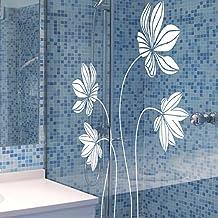"""vinilo decorativo """"Cinco flores con pétalos de líneas"""". Color blanco. Medidas: 60x85cm"""