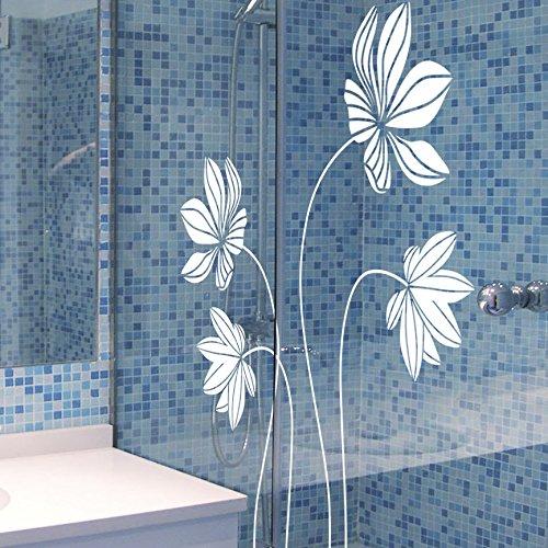 Ideavinilo Sticker décoratif Motif 5 fleurs avec pétales en lignes Blanc. 60 x 85 cm