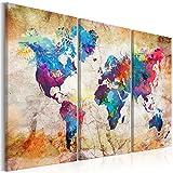 murando - Weltkarte mit Kork Rückwand 120x80 cm - Leinwandbilder - Fertig Aufgespannt - Pinnwand - 3 Teilig - Wandbilder XXL - Kunstdrucke - Wandbild - Weltkarte Welt Karte Kontinent Landkarte k-A-0179-p-g