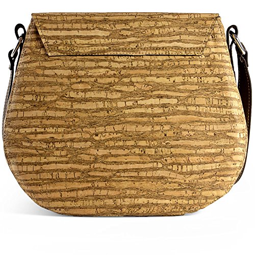 Saddle Bag for Women Leather Free Handbag Cross-Body Woman Vegan Cork Brown Tree - 3