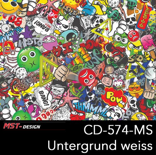 MST-Design Wassertransferdruck 2 Meter Lfm I CD-574-MS Stickerbomb Bunt I 2 Laufmeter Film in 100 cm...
