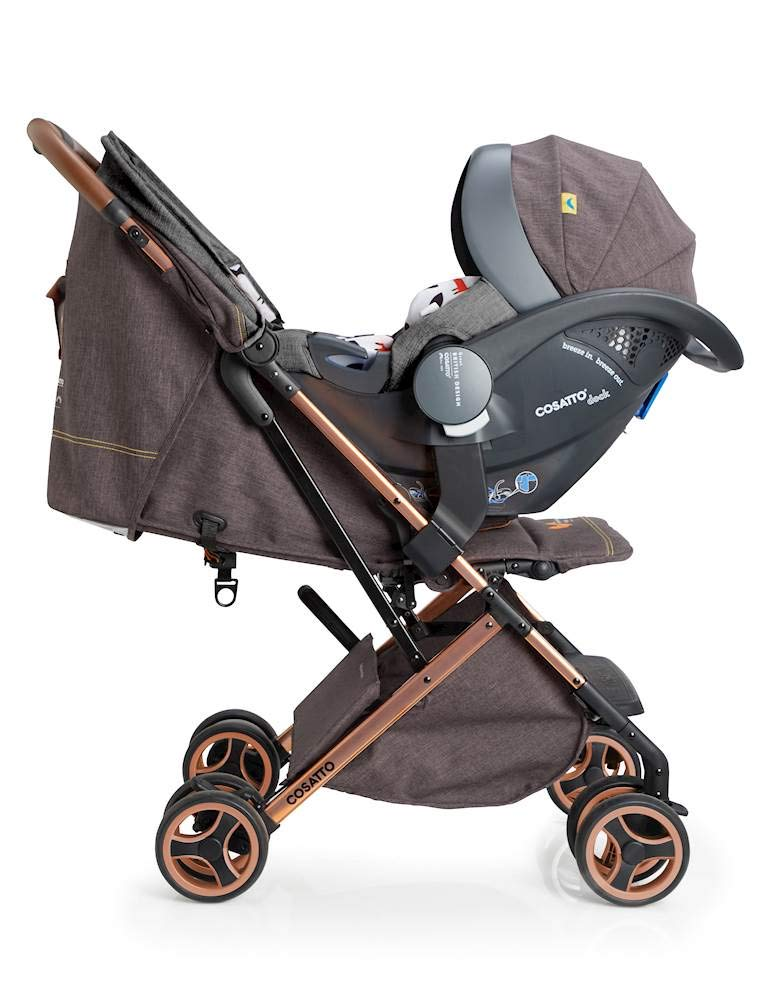 Cosatto Woosh XL Pushchair, Suitable from Birth to 25 kg, Mister Fox Cosatto Compact from-birth pushchair. carries up to 25kg child, so you can use it for longer. Hands full? it's lightweight with one-hand fold into compact bundle. easy to store. It can even carry dock 0+ car seat (sold sep) just pop onto the adaptors (sold sep). 3