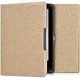 kwmobile Hülle für Tolino Vision 1 / 2 / 3 / 4 HD - Flipcover Case eReader Schutzhülle - Bookstyle Klapphülle Glitzer Uni Design Gold