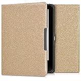 kwmobile Cover magnetica protettiva per Tolino Vision 1 / 2 / 3 / 4 HD - Custodia flip per e-book reader - Copertina a libro per e-reader Design Glitter uni oro