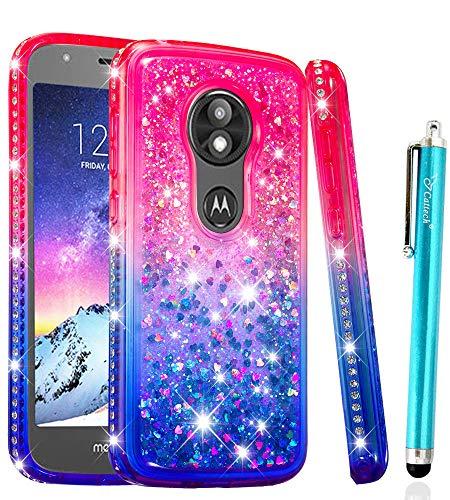 Glitter Case for Moto E5 Play Case, Moto E5 Cruise Case, Cattech Flowing Sparkle Shiny Bling Diamond Luxury Pretty Fashion Cute Girls Women for for Motorola E Play (5th Gen) + Stylus (Pink/Blue)