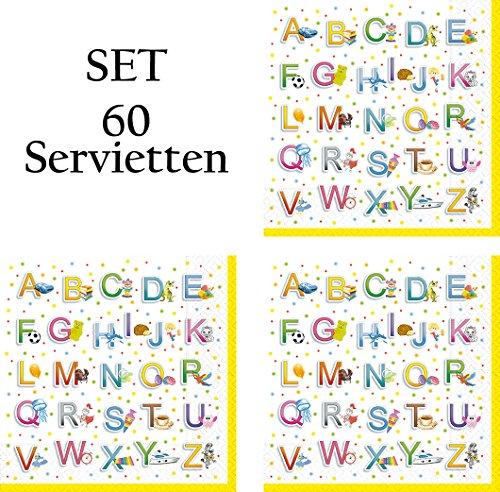60 Servietten Schulanfang Set 01 - Alphabet - Servietten Einschulung