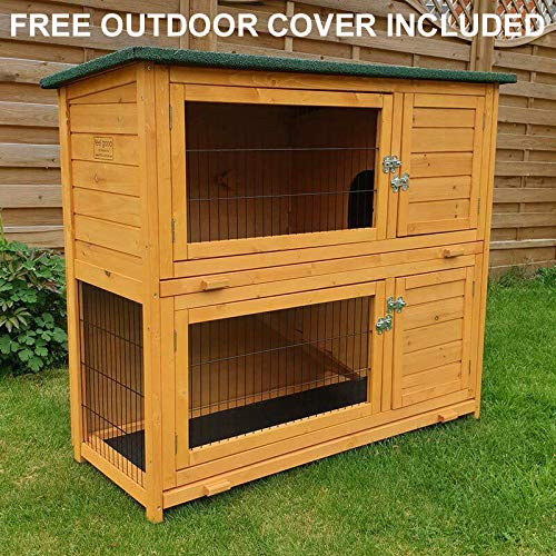 FeelGoodUK Double Rabbit Hutch with Rain Cover (48 inch)