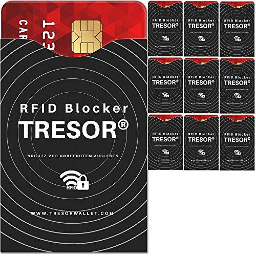 TRESOR® - RFID Schutzhülle Blocker 10er Set Hüllen gegen Datenklau für Kreditkarten, Personalausweis, EC-Karte, Ausweis, Pass - Sicherer Schutz Datenschutz vor RFID & NFC Datendiebstahl