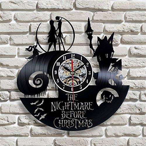 Rjjrr Rekord Wanduhr The Nightmare Before Christmas Theme Modernen Stil Vinyl Watch Silent 12