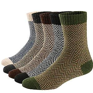 5 Paar warme, Dicke Wollsocken im Retro-Stil für Herbst und Winter
