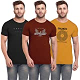 BULLMER Mens Halfsleeve Round Neck Printed Cotton Tshirt - Combo Tshirt - Pack of 3
