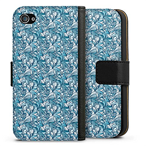 Apple iPhone X Silikon Hülle Case Schutzhülle Lilien Blau Muster Sideflip Tasche schwarz