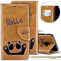 Herbests Handytasche für Samsung Galaxy A8 2018 Lederhülle Niedlich 3D Panda Muster Flip Case Cover Hülle Leder Klapphülle Leder Tasche im Bookstyle Handyhülle Brieftasche Schutzhülle,Braun