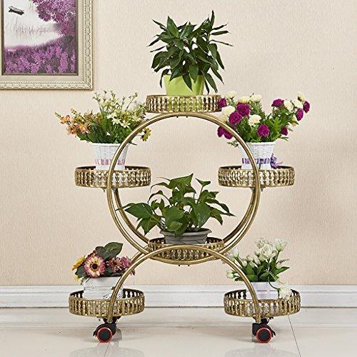 Etagère de Fleur Cadre de la Fleur européenne en Fer forgé Multi-Couche Mobile Stand de Fleurs étage Fleur Pot étagère Salon Balcon intérieur extérieur (Couleur : Brass)