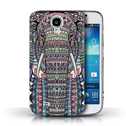 Coque en plastique pour Samsung Galaxy S4/SIV Collection Motif Animaux Aztec - Tigre-Mono éléphant-Couleur