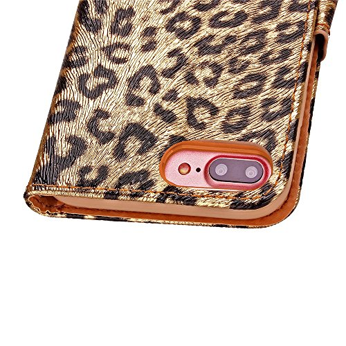 iPhone Case Cover iPhone Case 7 Plus, pretective Case motif léopard Impression couleur peinture Case PU cuir avec support pour Apple Wallet Fonction iPhone7 plus ( Color : 1 , Size : Iphone 7 Plus ) 2
