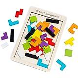 Buself Tetris Holzpuzzle Spielzeug ab 3 Jahren Jungen Tetris Tangram Holzpuzzles Lernspiele ab 2 3 4 5 6 Jahre Geburtstag Jun
