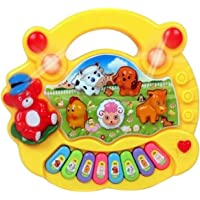 Unicas Baby Farm Animal Piano Real Sound LED Flash Toy ( Color As per Availability )