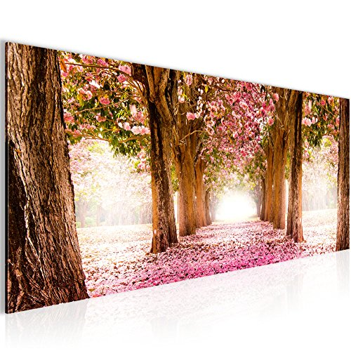 Bilder Wald Landschaft Wandbild 100 x 40 cm Vlies - Leinwand Bild XXL Format Wandbilder Wohnzimmer Wohnung Deko Kunstdrucke Pink 1 Teilig -100% MADE IN GERMANY - Fertig zum Aufhängen 605612a