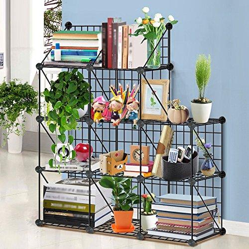 Porte-magazines et porte-journaux Étagères Du Magazine D'assemblage Bureau De Fer Créatif Étude Chambre Cadre De Finition Incorporated Home Bookshelf Noir (taille : 3-4)