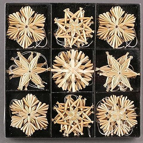 27 Stück Stroh-Sterne zum Hängen 6 cm - Baumschmuck Weihnachten Weihnachtsdekoration