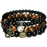 Young & Forever D'vine Onyx Tiger Eye Tourmalinated Quartz Healing Beads Yoga Reiki Buddha & Om Charm Natural Stone Unisex Sp