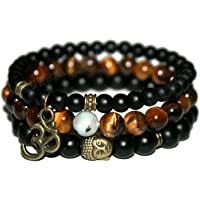 Young & Forever D'vine Onyx Tiger Eye Tourmalinated Quartz Healing Beads Yoga Reiki OM Charm Natural Stone Spiritual…