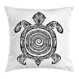 Turtle Throw Pillow Cushion Cover, Maori Tattoo Style Figure of Sea Animal Tribal Spiral Form Ancient Tropical, Decorative Square Accent Pillow Case, 20 X 20 inches, Black and White