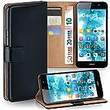 moex Huawei Y6 (2015) | Hülle Schwarz mit Karten-Fach 360° Book Klapp-Hülle Handytasche Kunst-Leder Handyhülle für Huawei Y6 (2015) Case Flip Cover Schutzhülle Tasche