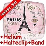 Carpeta Folienballon * Paris Eifelturm * + Helium FÜLLUNG + Halte Clip + Band * ALS besonderes Geschenk // Folien Ballon Deko Ballongas Geburtstag Geschenk Reise verreisen Helium Liebe rosa
