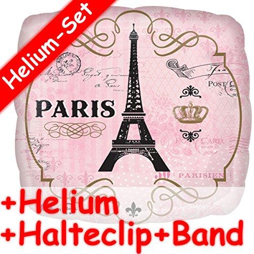* Paris Eifelturm * + Helium FÜLLUNG + Halte Clip + Band * ALS besonderes Geschenk // Folien Ballon Deko Ballongas Geburtstag Geschenk Reise verreisen Helium Liebe rosa ()