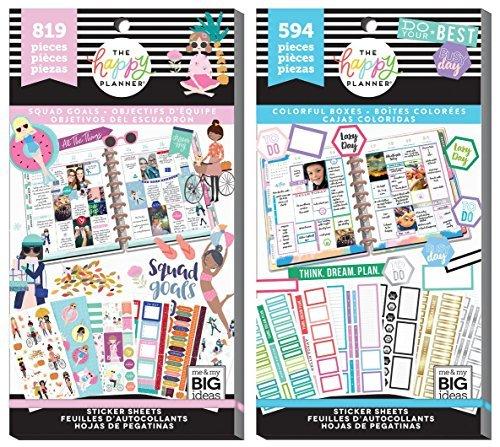 Mambi Classic Happy Planer Aufkleber Value Pack Bundle-Squad Ziele und bunten Boxen Aufkleber Bücher-2Stück -