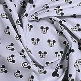 Stoff Baumwolle hellgrau Mickey Mouse Micky Mouse Micky