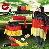 elasto Fußball WM 2018 Fanset Fanmeile 7-Teilige Deutschland Fanpaket mit Stirnband Regenponcho Klopfschlauch Fanschminke Fußballshort Ratsche