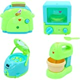vikrida battery operated pretend play kitchen household appliance play set for kids (steamer, toaster microwave and blender m