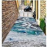 Lqwx Auto-adhésif imperméable peinture montagnes enneigées seaside beach shell dauphin 3D Stereo marbre paintin-300cmX210cm...