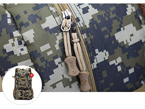 50L zaino da viaggio, zaino da escursionismo, outdoor borsa a tracolla per alpinismo equitazione zaino esterno impermeabile, per uomo e donna, Camouflage-3 Camouflage-3