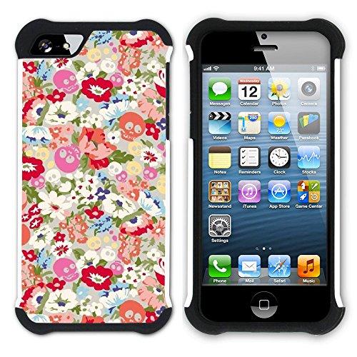 Graphic4You Blume Blumen- Muster Hart + Weiche Kratzfeste Hülle Case Schale Tasche Schutzhülle für Apple iPhone SE / 5 / 5S Design #18