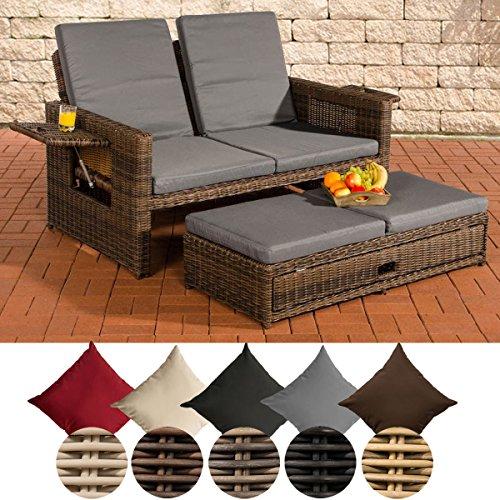 CLP Poly-Rattan 2er Lounge-Sofa ANCONA, Geflecht RUND, ALU-Gestell, ausziehbare Fußbank, flexibel verstellbar Rattan Farbe braun-meliert, Bezugfarbe: Eisengrau