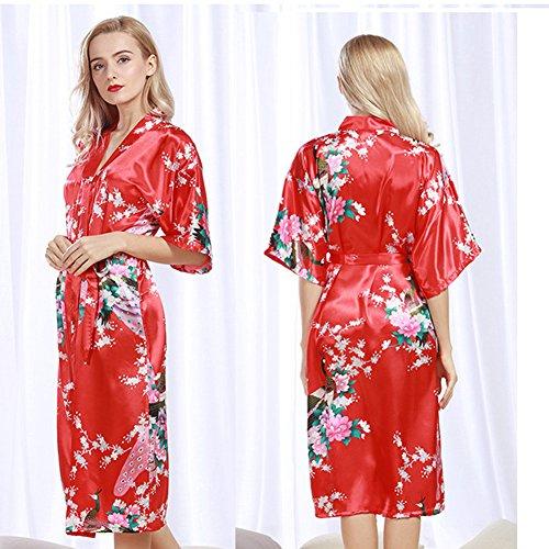 Free Fisher Damen Kimono Morgenmantel Nachtwäsche Bademantel mit 1/2-Arm Rot